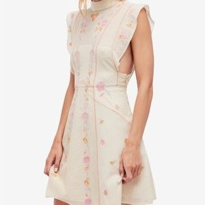 Free People High Neck Embroidered Mesh Dress Sz 8